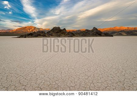 Racetrack Playa on sunset. Death Valley national park. California. USA.