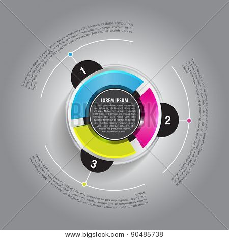 Vector round graph with three colored sections and a place for text