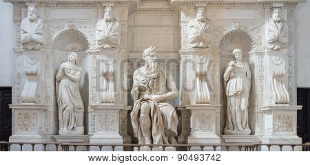 The statue of Moses by Michelangelo located in San Pietro in Vincoli cathedral in Rome Italy. One of the most famous sculptures in the world. Natural light. poster