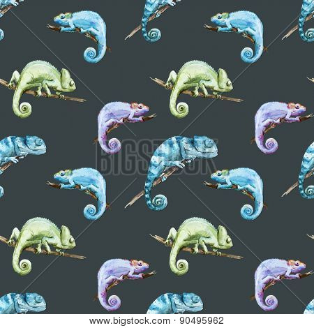 Beutiful watercolor vector pattern with reptiles chameleon poster