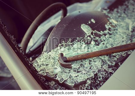 It is clear glass repair or auto accident on the road. poster