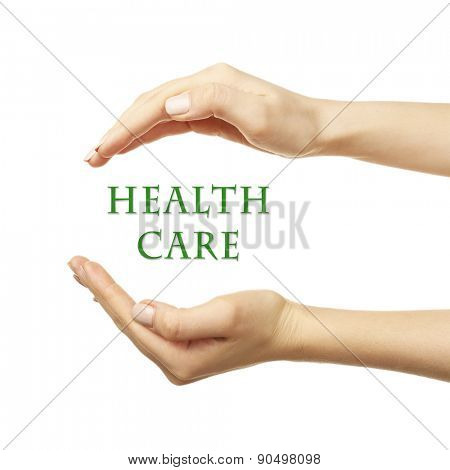Female hands with health care words isolated on white