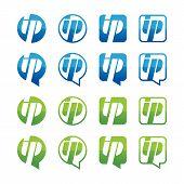 Set of green and blue ip address icons isolated on white background. Vector logo design template. Round square and speech bubble shape button. poster