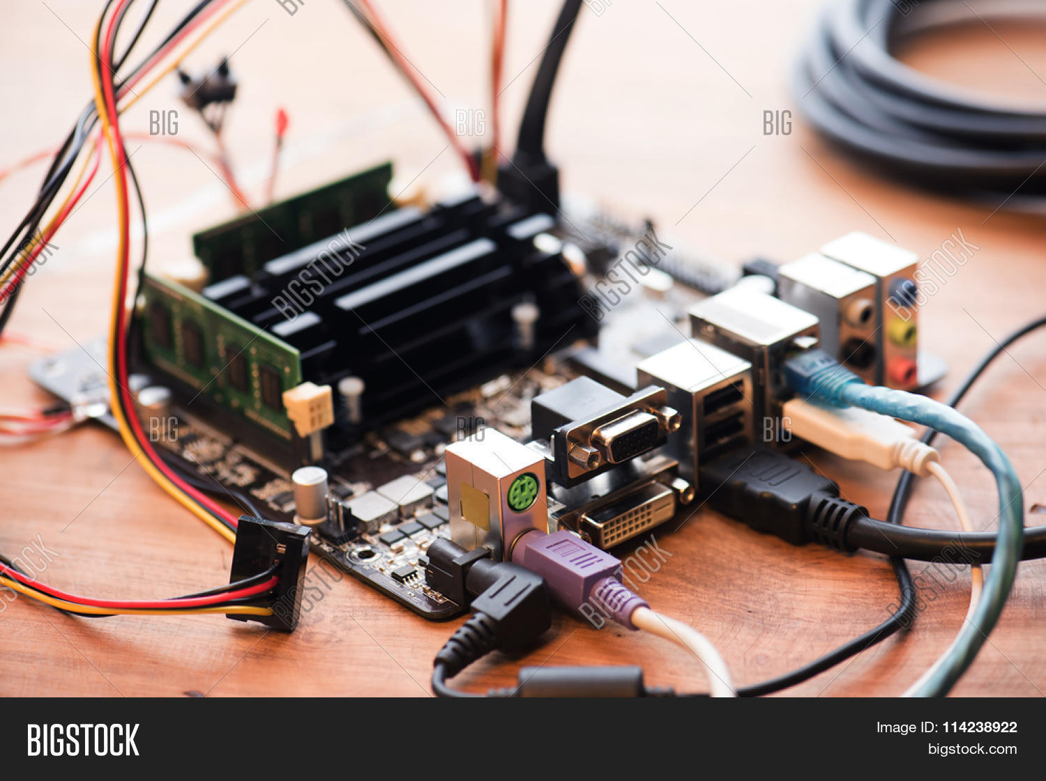 Electronic Project Image Photo Free Trial Bigstock Circuits Electronics Projects Or Testing Bare Computer Mother Board Hooked Up On A Work Table