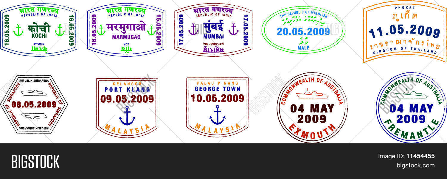 Asian Australian And Indian Passport Stamps