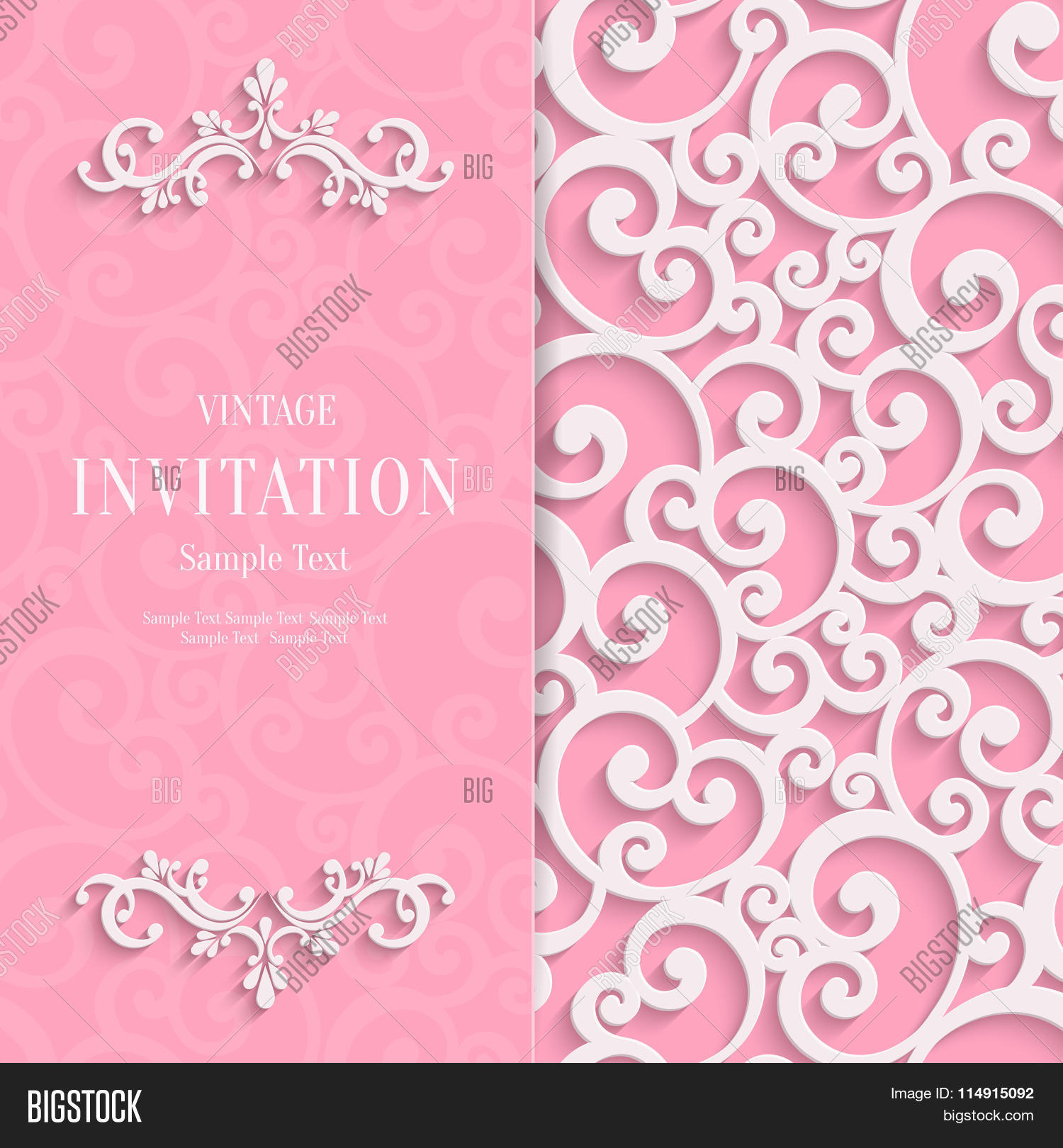 Vector pink 3d vector photo free trial bigstock vector pink 3d vintage invitation card with swirl damask pattern stopboris Images