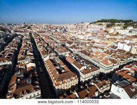 Aerial View of Baixa Chiado and Alfama, Lisbon, Portugal
