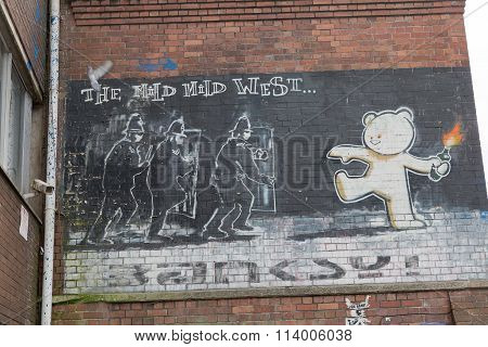 April 2014 - Bristol, United Kingdom: A Graffiti Of Banksy Called The Mild Mild West