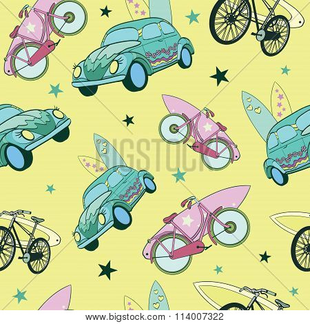 Vector Yellow Green Surfboards On Cars Bicycles Seamless Pattern. Travel and Bike Vacation. Surfing,