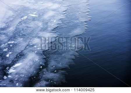 First Ice On The Lake, Winter Background Texture