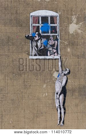 April 2014 - Bristol, United Kingdom: A Graffiti Of The Artist Banksy, Called Wall Hanger