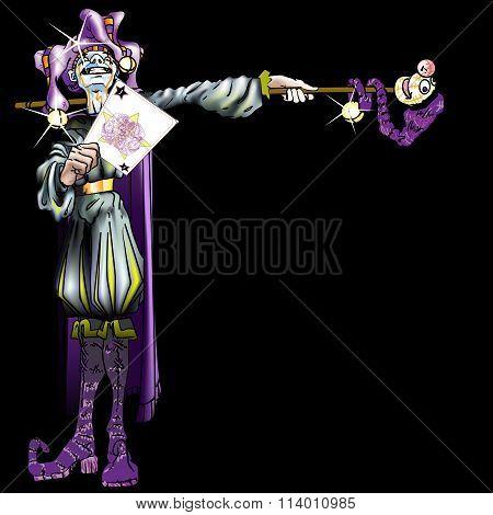 Jester Holding Joker Card