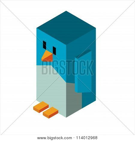 Penguin 3d icon vector illustration