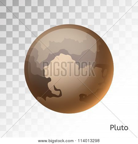 Pluto planet 3d vector illustration