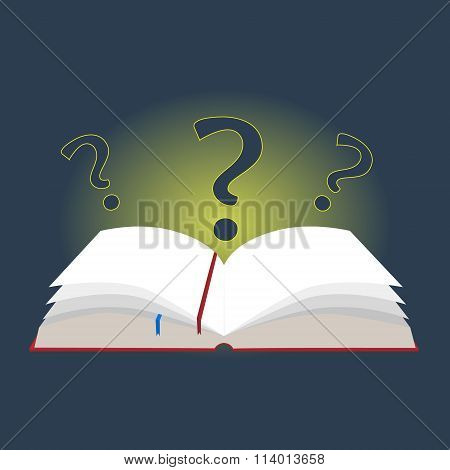 Illustration Open Book With Bookmarks And Question Marks In A Flat Design