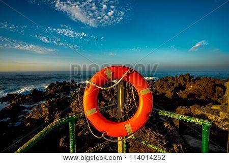 Red lifeline on the coast