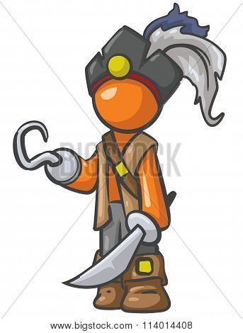 Orange Person Pirate With Cutlass Sword