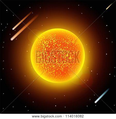 Sun star planet 3d vector illustration