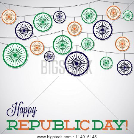 Hanging Ornament Republic Day Card In Vector Format..