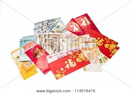 Red Packets With Good Fortune Character And Various Currency Notes