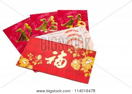 Red Packet With Good Fortune Character Contains Singapore Dollar  Currency