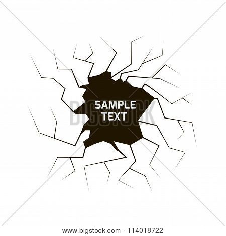 Cracked hole with space for text