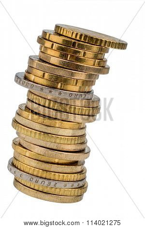 stacks of coins in front of a white background
