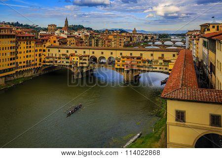 Beautiful sunset view of bridge Ponte Vecchio, Florence, Italy
