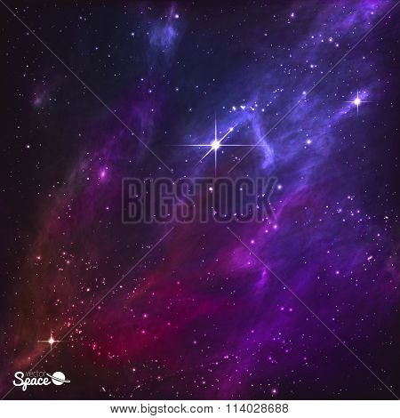 Colorful Night Skies with polaris and purple nebula. Vector Illustration.