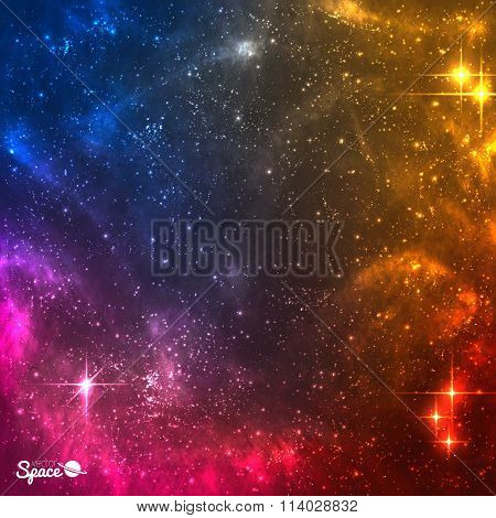 Colourful Cosmic background with nebula and bright stars.Vector illustration.