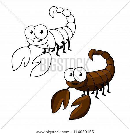 Funny little cartoon brown scorpion