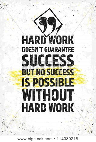 Hard work doesn't guarantee success, but no success is possible without hard work motivational quote