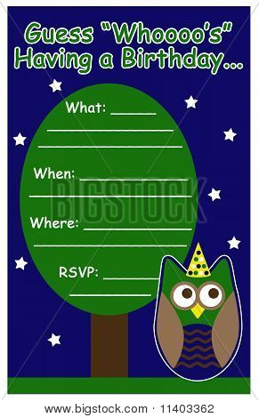 Owl themed boy birthday party invite in blue and green. poster