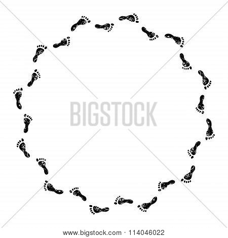 Footprints black and white circle frame, vector