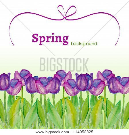 Spring poster with tulips.