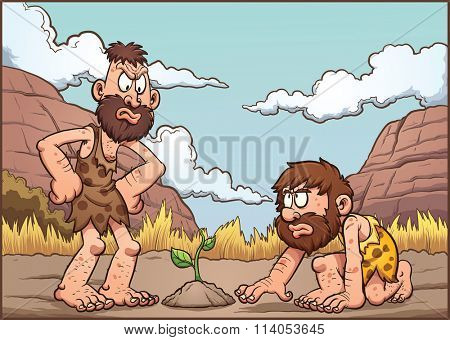 Cartoon cavemen discussing over a plant. Vector clip art illustration with simple gradients. Background and cavemen on separate layers.