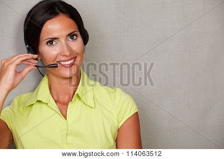 Charming Customer Service Operator With Headset