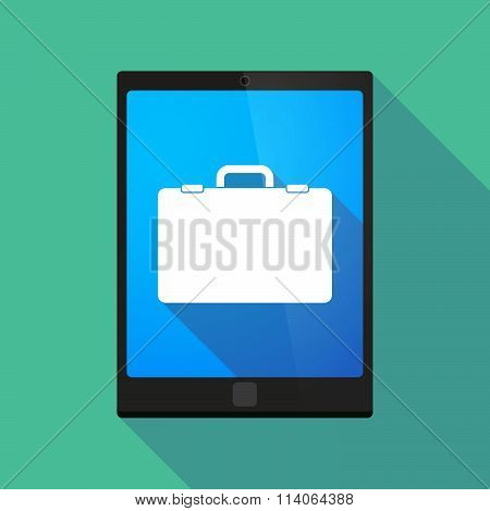 Long Shadow Tablet Pc Icon With  A Breiefcase