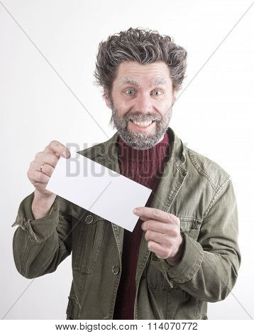 Mr. IceMan, smiling man with a beard, a beard covered with hoarfrost, he holding white card. fashion