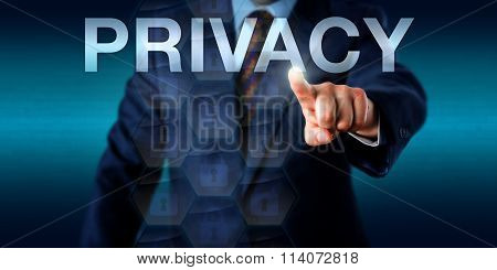 Executive Pressing Privacy Onscreen