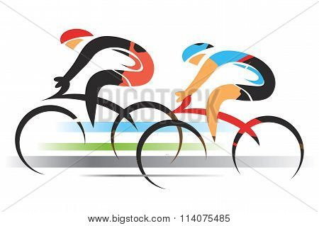 Two racing cyclists. Colorful stylized illustration. Vector available. poster