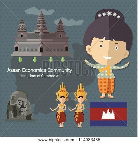 Asean Economics Community AEC Cambodia eps 10 format poster