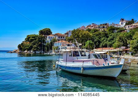 Beautiful harbour in Skiathos, Sporades, Greece