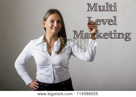 Multi Level Marketing Mlm - Beautiful Girl Writing On Transparent Surface