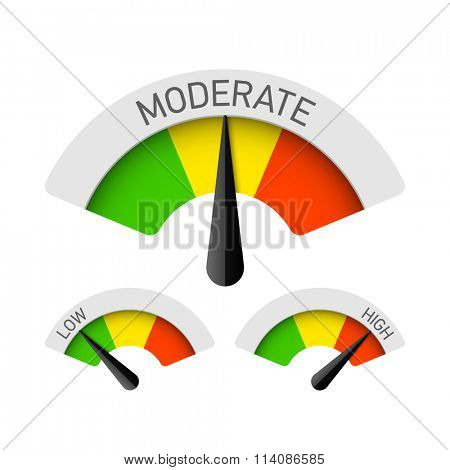 Low, Moderate and High gauges. Vector.