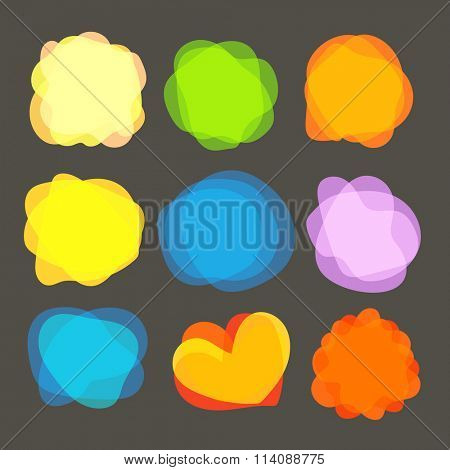 Different color blobs clip-art. Vector elements collection
