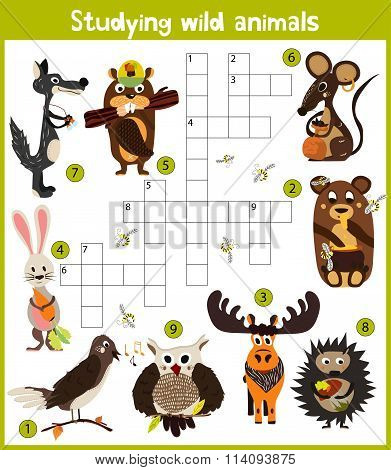 A Colorful Children's Cartoon Crossword, Education Game For Children On The Theme Of Exploring D