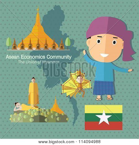 Asean Economics Community AEC Myanmar eps 10 format poster