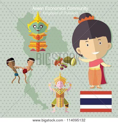 Asean Economics Community AEC Thailand eps10 format poster