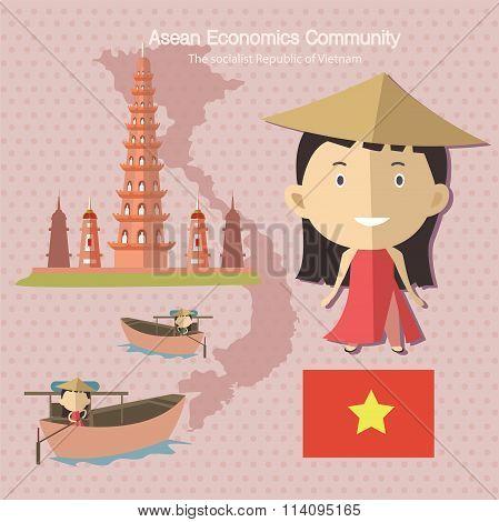 Asean Economics Community AEC Vietnam eps 10 poster